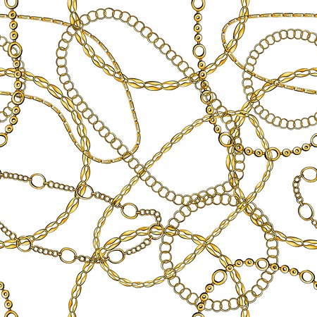 Golden chains hand drawn seamless pattern. Precious jewellery on white background. Realistic bracelets and necklaces backdrop. Fashionable accessory chaotic texture. Decorative wrapping paper design