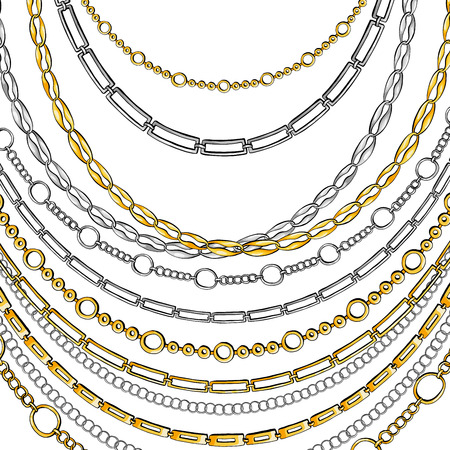 Golden and Silver Chain Neck Lace. Vector isolated on White Background with Stars and Glowing Lights. Trendy Accessory Illustration Ilustração