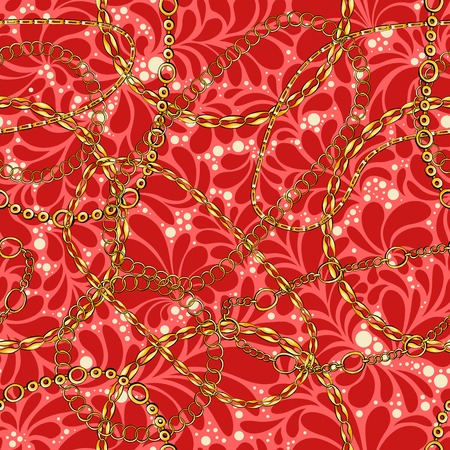 Damask seamless vector pattern with chains. Abstract ornate glamour bright red texture. Golden and silver jewellery rings on background. Wallpaper, wrapping paper