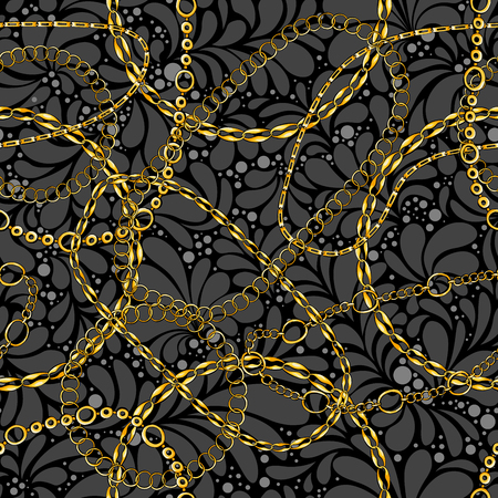 Damask seamless vector pattern with chains. Abstract ornate glamour texture. Golden and silver jewellery rings on dark background. Decorative bijouterie ornament. Wallpaper, wrapping paper design Ilustração