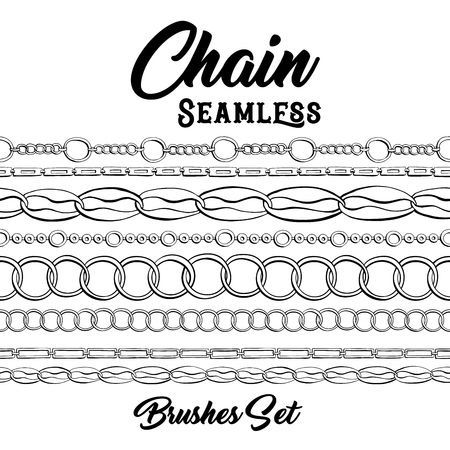 Black chains hand drawn pattern brushes. Vertical bracelets ink pen texture. Monochrome jewellery coloring book or page design. Fashion jewelry contour background.