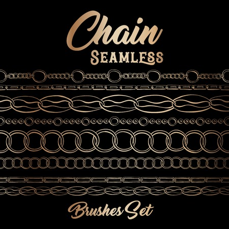 Golden chains seamless brushes. Horizontal bracelets on Black Background. Jewellery Banner with Oval frame, sketch drawing. Fashion jewelry outline. Gold Vector Collection of different chains