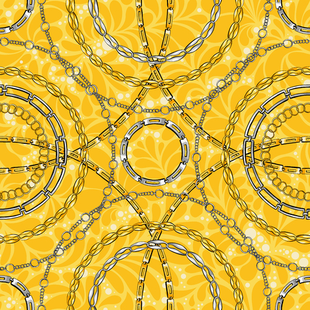 Chain rings hand drawn vector seamless pattern. Glamour ornate texture. Golden and silver chainlet on yellow background. Precious bijouterie ornament. Wallpaper, wrapping paper design
