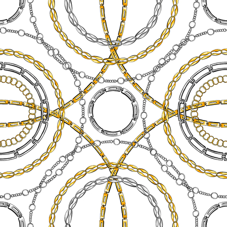 Chain rings hand drawn vector seamless pattern. Glamour ornate texture. Golden and silver chainlet on white background. Precious bijouterie ornament. Wallpaper, wrapping paper design