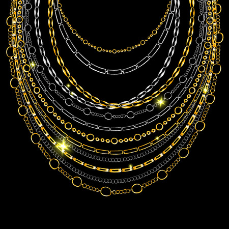 Golden and Silver Chain Neck Lace. Vector isolated on Black Background with Stars and Glowing Lights. Trendy Accessory Illustration Illustration