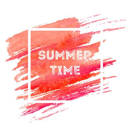 Quadratischer Rahmen mit Exemplar. Sommerzeit stilisierter Schriftzug. Vorlage für Social-Media-Beiträge. Korallenfarbene Pinselstrich-Farbabbildung. Grunge Pinsel isoliert Clipart. Grußkarte, Poster, Webdesign