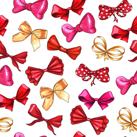 Bow hand drawn vector seamless pattern. Golden gradient, red, pink ribbon knots illustration. Gift bowknots drawing. Isolated color hair accessories clipart. Holiday wrapping paper, textile design Vektorové ilustrace
