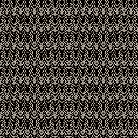 Classic asian golden and black squama seamless pattern for textile industry, fabric design. Chinese or Japanese abstract background. Vector illustration with circles