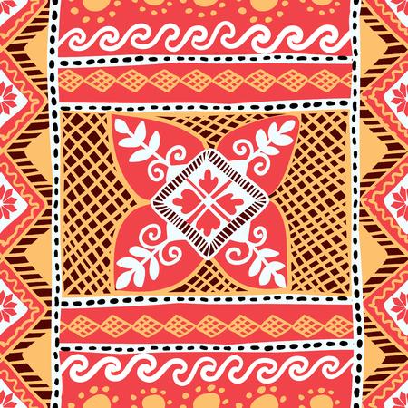 Easter Seamless Pattern with Native Slavonic Ukrainian Pysanka Plant Ornament Illusztráció