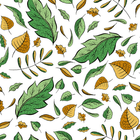 Autumn leaves hand drawn color seamless pattern. Oak, birch, walnut trees foliage vector illustration. Fresh green, autumnal yellow doodle leafage. Botanical wallpaper, textile, wrapping paper design