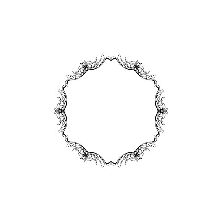 Floral vintage decorative vector frame. Flower black ink Circle filigree border with text space. Isolated calligraphic frame with copyspace. Invitation, greeting card, poster flourish design element