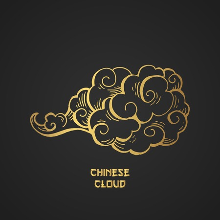 Golden Chinese Clouds hand drawn vector illustration. Overcloud Outline. Smoke black and gold abstract clipart. Chinese art drawing with engraving. Wind blowing. Isolated postcard design element Illusztráció