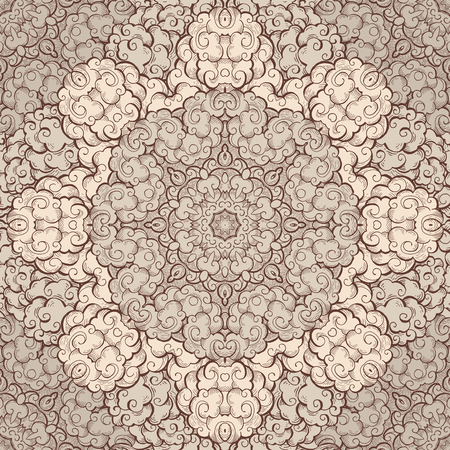 Clouds hand drawn abstract seamless pattern. Overcloud color texture. Beige and brown cloudy swirls drawing. Smoke, wind chinese style sketch. Textile, wrapping paper, background vector illustration Illustration