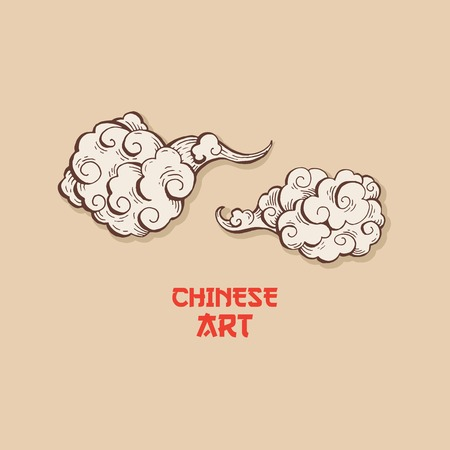 Golden Chinese Clouds hand drawn vector illustration. Overcloud Outline. Smoke brown and white abstract clipart. Chinese art drawing with engraving. Wind blowing. Isolated postcard design element