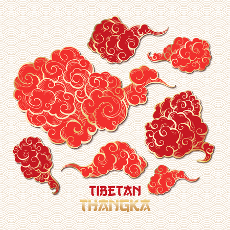 Chinese or Tibetian Golden Outline and Red Vector Clouds Collection. Asian Oriental Artistic Tangka Illustration. Paper Art Style Illusztráció