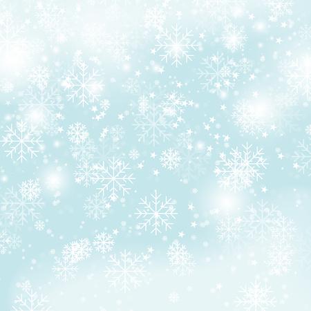 Flocons de neige de Noël de modèle d'hiver sur l'illustration de vecteur de fond bleu. Chutes de neige du nouvel an en toute transparence image vectorielle dégradé de papier peint Vecteurs