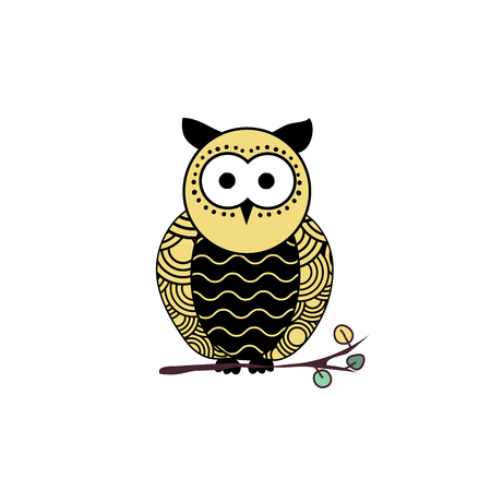 Stylized owl silhouette vector illustration. Night bird black and yellow hand drawn clipart. Mother and child owls ornate drawing. Abstract doodle wild animals. Isolated monochrome design element Illustration