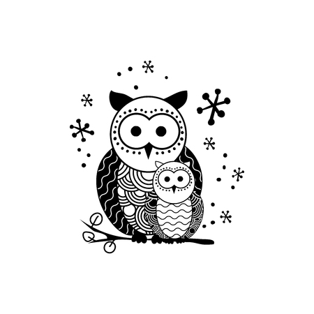 Stylized owl silhouette vector illustration. Night bird black and white hand drawn clipart. Mother and child owls ornate drawing. Abstract doodle wild animals. Isolated monochrome design element Ilustração