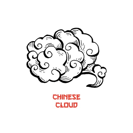 Clouds hand drawn vector illustration. Overcloud ink pen sketch. Smoke black and white abstract clipart. Chinese art drawing with lettering. Wind blowing. Isolated postcard monochrome design element 일러스트