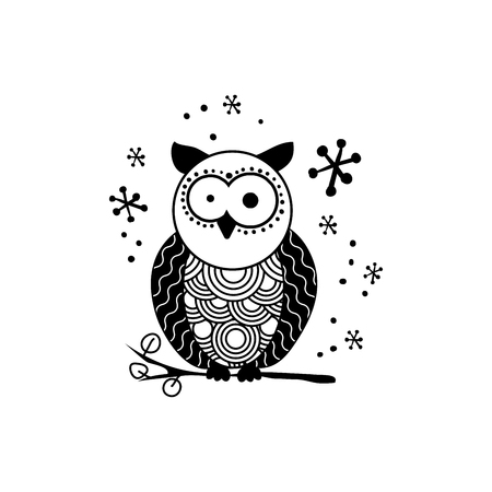 Stylized owl silhouette vector illustration. Night bird black and white hand drawn clipart. Mother and child owls ornate drawing. Abstract doodle wild animals. Isolated monochrome design element Illustration