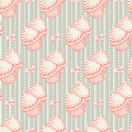 Hand Drawn Christmas or Xmas Sweets Seamless Pattern for Holiday Scrapbooking or Gift Wrapping Papers. Xmas Texture with Cake for 2019 New year