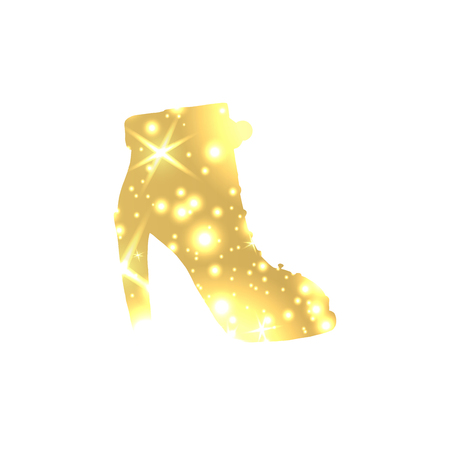 Golden Shoes Symbol with silhouette and gold shining lights. Illustration