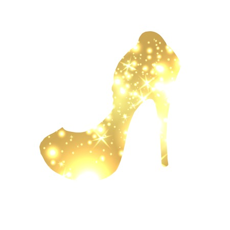 Golden Shoes Symbol with silhouette and gold shining lights. Creative Trendy Modern Fashion Shop Template. Symbol Illustration on Black Background
