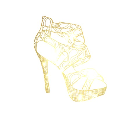 Golden high heel shoe hand drawn vector illustration. Women s shoe abstract sketch. Female footwear gradient outline drawing. Golden high heels sketched clipart. Isolated fashion design element