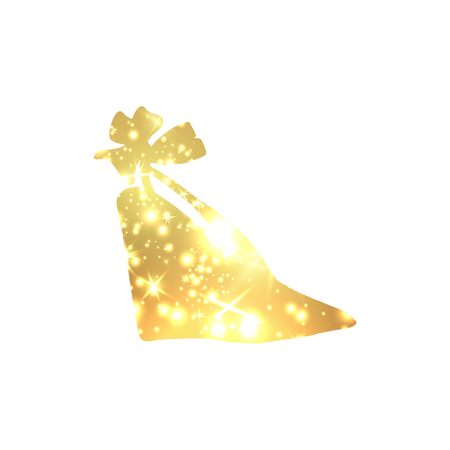 Golden Shoes Symbol with silhouette and gold shining lights. Vettoriali
