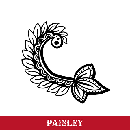 Paisley motif hand drawn isolated vector tattoo illustration. Buta ink pen isolated clipart. Persian ornate sketch. Monochrome boteh curl. Greeting card, textile ornamental design element Ilustração