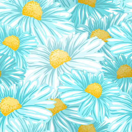 Daisy or Chamomile Tea Herb Flower Seamless Pattern. Herbal Therapy Wallpaper. Botany Plant, Matricaria Loose Herbs. Floral Blossom for Agriculture Packaging or Wrapping Paper Design.