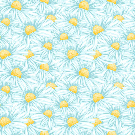 Daisy or Chamomile Tea Herb Flower Seamless Pattern. Herbal Therapy Wallpaper. Botany Plant, Matricaria Loose Herbs. Floral Blossom for Agriculture Packaging or Wrapping Paper Design. Stock Vector - 123028960