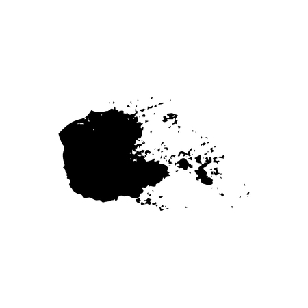 Ebony ink blob. Black blotch on white background. Ink splatter with droppings. Black paint spilled drop cover and textile design element. Paint blob. Inkblot on paper. Isolated vector illustration
