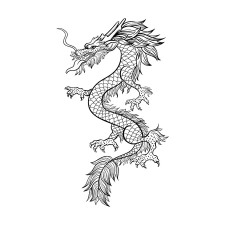 Chinese dragon hand drawn vector illustration. Mythical creature ink pen sketch. Black and white clipart. Serpent freehand drawing. Isolated monochrome mythic design element. Chinese new year poster Illustration