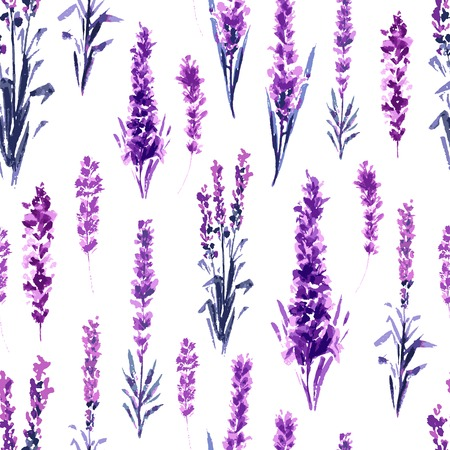 Lavender Field Seamless Pattern. Watercolor or Aquarelle Paintings of Provence Lavandula. Hand Drawn Tea Herbs Flower. Summer Blossom or Foliage of Garden Plant in Aquarelle. Nature and Perfume.