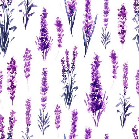 Patrón sin fisuras de campo de lavanda. Acuarela o pinturas de acuarelas de Provence Lavandula. Flor de hierbas de té dibujado a mano. Flor de verano o follaje de planta de jardín en Aquarelle. Naturaleza y Perfume.