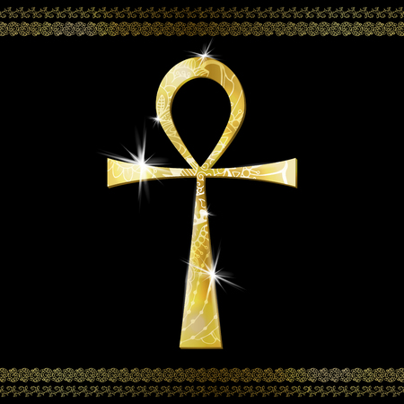 Ankh Symbol. Gold vector Egyptian Cross with ornament and lighting flare. Vector Illustration.