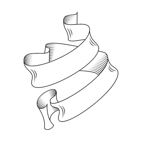 Nastro di scorrimento vettoriale dettagliato disegnato a mano nel disegno di contorno o contorno. Singola illustrazione vettoriale isolata di un nastro corto retrò in stile vintage, linea sottile Vettoriali