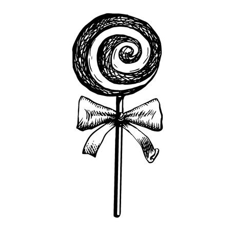 Candy Lollipop Sketch, Doodle Vector Illustration Of Swirl Candy In Twisted Design Isolated On White Background. Hand Drawn Hard Lolly On Stick With Cute Bow Engraving Stripe Caramel.