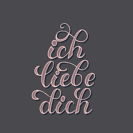 German or dutch motto or phrase for saying I love you. Label for valentine s day, quote for wedding, emotion or feeling expression. Romance and tenderness, type and lettering theme