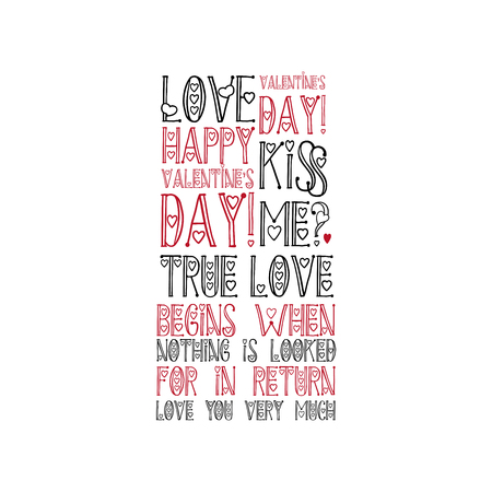World Cloud Love Hand Lettering Quote Isolated on White Background. Design for Valentines Day Holiday Greeting Cards or T-Shirt Prints. Isolated Vector Illustration