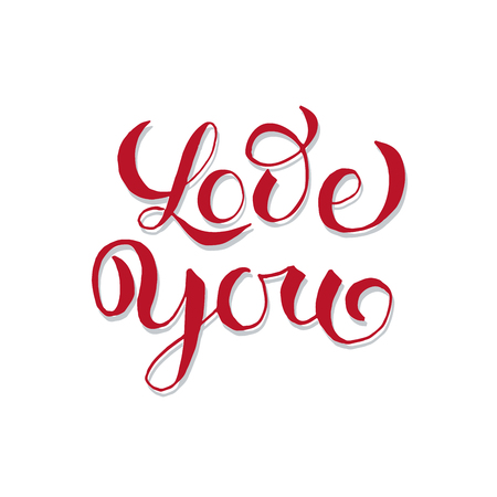 Valentines Day Greeting Card or Poster with Love You lettering. Laser Cutting File Isolated on White Blackground. Vector Engraved with Handdrawn Letters Wishes Love You Ilustração