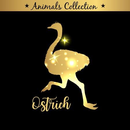 Isolierte Vintage goldene und königliche Emblem von Bauernhof Strauß oder Kamel-Vogel-Tier. Frisches und schmackhaftes diätetisches Fleisch. Markt für Metzgereiprodukte. Goldene Silhouette mit Lichtern und Schriftzug.