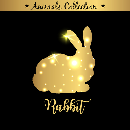 Isolated vintage golden and royal emblem of Big farm Rabbit animal. Dietary meat. Butchery products market. Golden silhouette with lights and lettering. Concept template for branding. Standard-Bild - 122404503