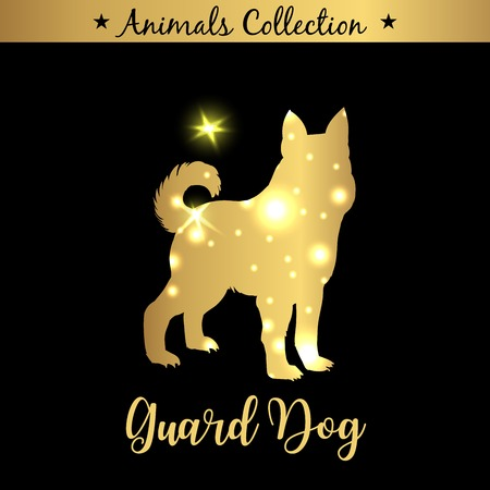 Isolated vintage golden and royal emblem of farm Guard Dog animal. Golden silhouette with lights and lettering. Concept template for branding