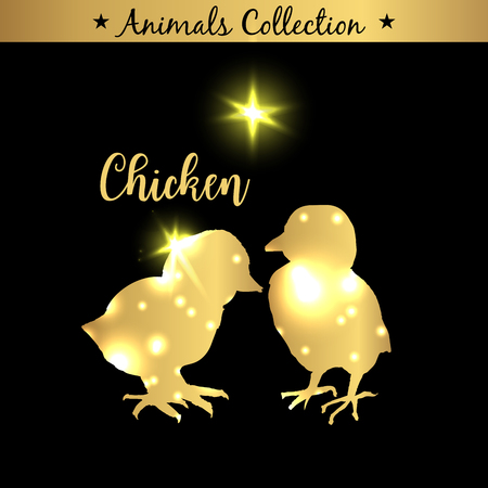 Isolated vintage golden and royal emblem of farm Chicken animals. Fresh and tasty Chicken meat. Butchery products market. Golden silhouette with lights and lettering. Concept template for branding.