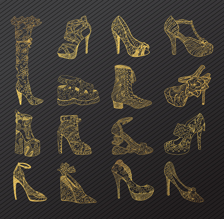 Set of isolated sketches of golden woman shoes. Hand drawn peep toe and stiletto, thigh high or knee boots and lita. Footwear and lady clothing, girl or female trendy boots with platform, vogue theme Vetores
