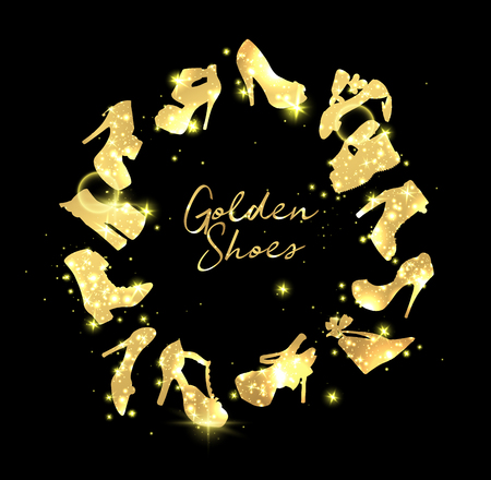 Golden Shoes Collection Symbols with silhouettes and patterned fill. Creative Trendy Modern Fashion Shop Logo Template. Gold Symbol Illustration With Hand Drawn Lettering On White Background.