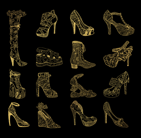 Set of isolated sketches of golden woman shoes. Hand drawn peep toe and stiletto, thigh high or knee boots and lita. Footwear and lady clothing, girl or female trendy boots with platform, vogue theme