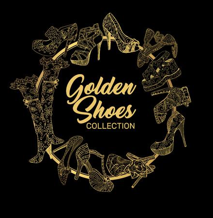 Golden Shoes Round Frame with Symbols. Outline and gold shining lights. Creative Trendy Modern Fashion Shop Logo Template. Symbol Illustration on Black Background